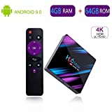 Android Box Android 9.0 4 Go de RAM / 64 Go Smart H96 Max TV Box avec processeur Quad-Core RK3318 64 Bits Compatible avec 2,4 GHz / 5,0 GHz Dual WiFi Bluetooth 4.0 4K Ultra HD 3D TV Box h96 Max