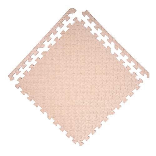 GHHZZQ Interlocking Puzzle Mat Cutable Fácil de Limpiar PE Alfombrillas de Espuma con Frontera para Interior Juego Resistente A Caídas Varios Tamaños (Color : Beige, Size : 60x60x1.0cm-9Tile)
