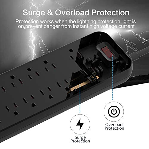 Power Strip, MKSENSE Surge Protector with 12 Outlets & 4 USB Ports & 1 Type-C Port (5V/3A), 3600 Joules, Angled Flat Plug, Spaced Outlets & ETL Listed Power Outlet for Home Office - Black