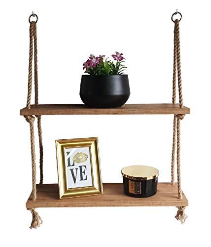 Holz Hängendes Regal Gold Craft Oak mit Seil - Wandregal Wandschaukel Schweberegale - Aufhängen Holzregal Wand - Wanddekoration Hängeregal mit Jute Seil (2 Tier)