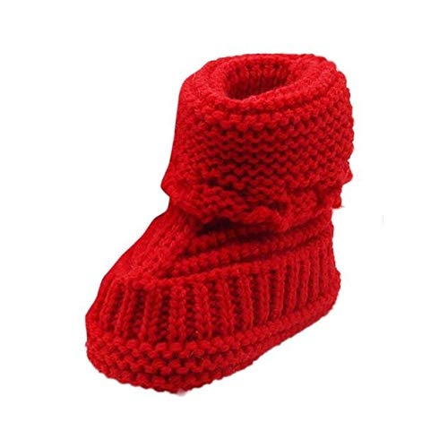 Toddler Newborn Crochet Shoes Winter Warm Premium Cable Knit Baby Booties Prewalker Soft Sole Shoes (0-6 Months, Red)