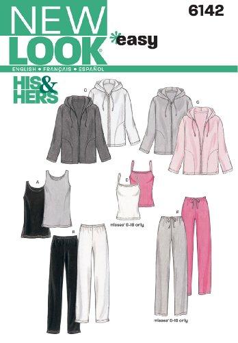 New Look Schnittmuster 6142 für Damen und Herren, Größe A (alle Größen)
