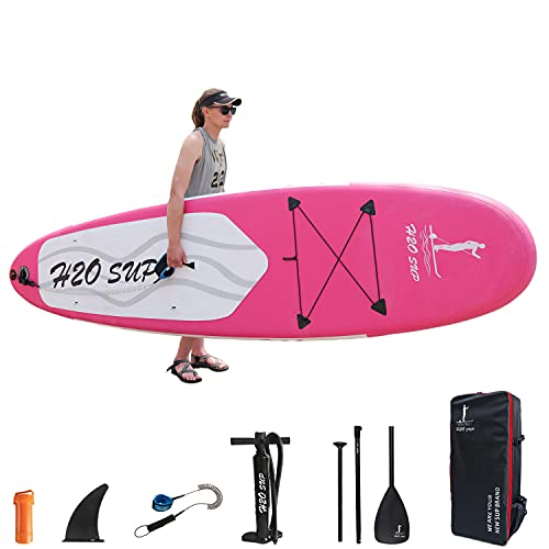 H2OSUP Tabla Paddle Surf Hinchable, 320 X 76 X 15 Cm Tabla Stand Up Paddle Board,Tabla De Sup Ultraligera,Mochila Premium, Accesorios De Sup Y Cubierta Antideslizante para JóVenes Y Adultos