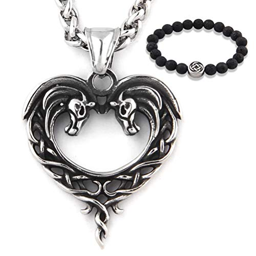 GUNGNEER Stainless Steel Celtic Knot Necklace Heart Horse Pendant Trinity Jewelry Infinity Amulet Talisman Men Women