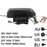 BLSM Bicicleta eléctrica 36V 48V 52V batería 10AH 15AH 12.5AH 17.5AH 21AH 18650 SANYO Samsung Cell Lithium USB para 500-1500W Ebike Kit, 48 V14,5 Ah.