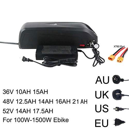 BLSM Elektrofahrrad 36V 48V 52V Batterie 10AH 15AH 12,5AH 17,5AH 21AH 18650 Sanyo Samsung Zelle Lithium USB für 500-1500W E-Bike Kit, 36 V, 15 Ah