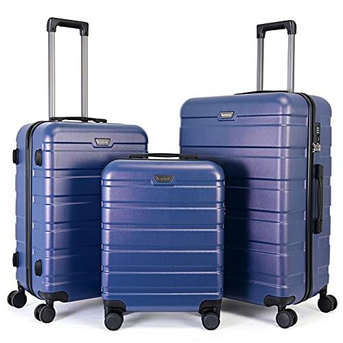 BONTOUR Kofferset Suitcase Set, Hartschalenkoffer 4 Rollen aus Polycarbonat Material mit TSA-Schloss (Blau, Kofferset 3 teilig)
