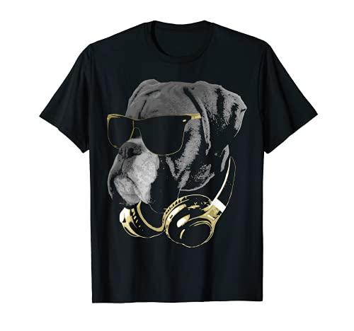 Perro bóxer con gafas de sol y auriculares Camiseta