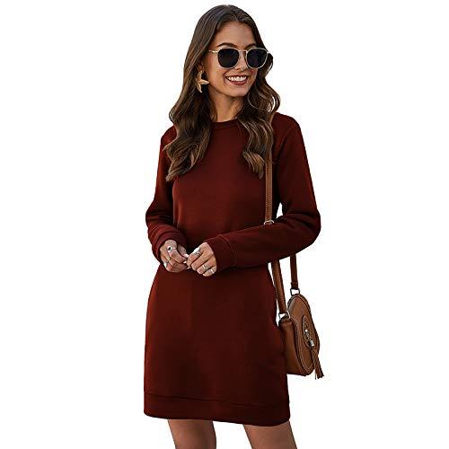 Tsorto Damen Lange Pulloverkleid Langarm Crewneck Tunikakleid Basic Einfarbig Longpullover Silm Fit Übergröße Sweatkleid mit Taschen für Frühling Herbst Winter Weinrot-XL