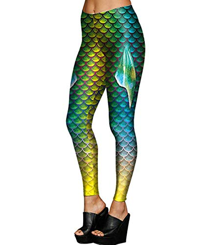 Alaroo Mermaid Leggings With Fish Scale & Fin Print For Women Ombre Green L