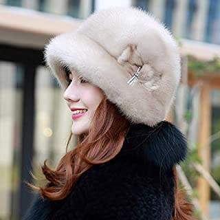 Elegant Noble Winter Warm Ladies Mink Hat Suede Hat Whole Fur Hat Nut Hair Earmuffs Hat Gray