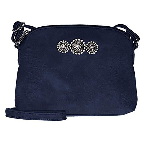 Dirndltasche Trachtentasche als Umhänge-Tasche Kunst-Leder mit Edelweiss dunkel-blau