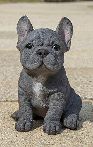 Hi-Line Gift Blue French Bulldog Puppy Sitting Statue, Grey