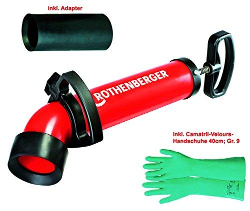 Rothenberger Ropump Super Plus (072070X) Saug-Druckreiniger mit 2 Adaptern (1xlang + 1xkurz) und 1 Paar Camatril-Velours Schutzhandschuhen 40cm lang, Größe 9