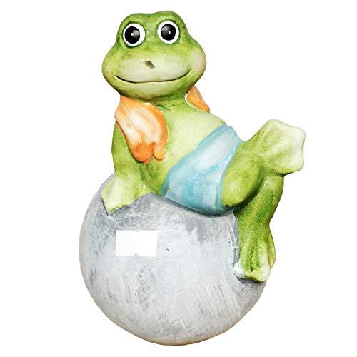 Land-Haus-Shop Frosch auf Kugel Dekofigur Mädchen Junge Deko Figur Märchen Dekoration Geschenk (Junge)
