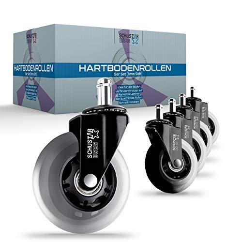 SCHUSTAR USES ® Premium Hartbodenrollen [5]er Set – Bürostuhlrollen für alle Fußböden geeignet – Geräuschlose Rollen für Bürostühle – [2] Varianten 11 mm