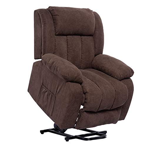 Polar Aurora Lift Massage Recliner Chair for Elderly Heated Fabric Recliner Ergonomic Lounge Vibratory Massage Function/Heating/Remote Control for Living Room(Brown)