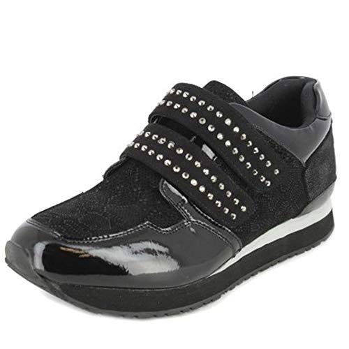 Zapato Casual Mujer DOCTOR CUTILLAS,en Tejido Combi Charol Negro,Cierre Velcro.Mod.13910 (Negro, Numeric_39)