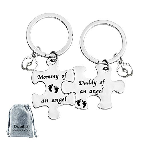 Loss Memorial Keychain Mommy Daddy of an Angel Puzzle Keyring Set of 2 Miscarriage Keepsake Baby Memorial Jewelry Gift for Infant Loss