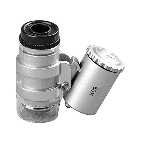 UOEIDOSB Lupa, Botón colgantes de bolsillo LED portátil de dinero de la lámpara de Inspección de la lupa del microscopio