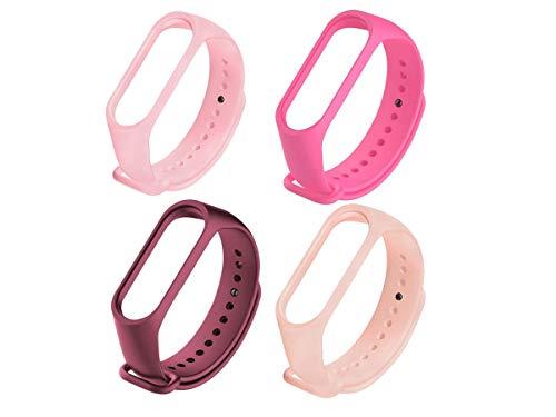 Kit com 4 pulseiras femininas rosa para mi band 3 ou 4 pinos de metal