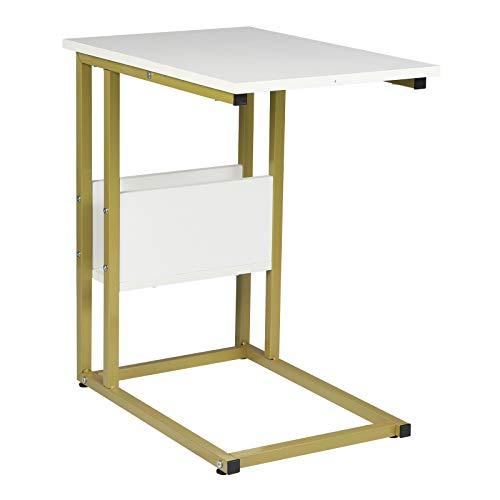 WOLTU Tavolino Laterale da Divano Piccolo Tavolo da caffè per Salotto in MDF e Ferro Colore Bianco+Oro TS79gdws