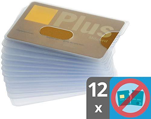 Karten Schutzhülle | Robustes Plastik | Loch Ausschnitt | transparent | 12 x Kartenhülle für Kreditkarten und EC Karten