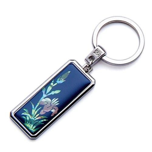 Mother of Pearl azul diseño de flores hecho a mano de orquídea Craft YooUSB o cama de matrimonio Metal llavero soporte de coche
