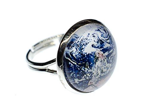 Miniblings Cabochon Ring Globus Satellitenbild Welt All Weltraum Satellit Blau