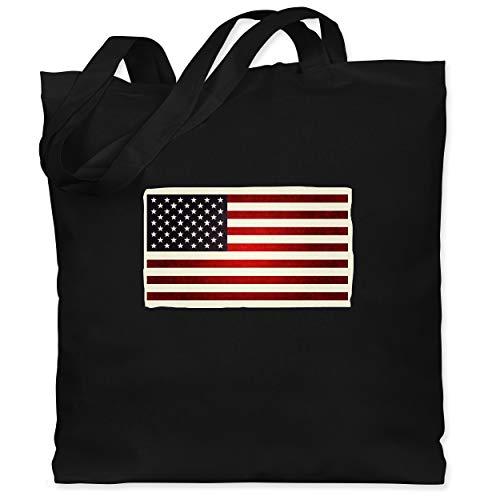 Shirtracer Kontinente - Flagge USA - Unisize - Schwarz - usa-flagge - WM101 - Stoffbeutel aus Baumwolle Jutebeutel lange Henkel