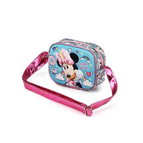 Karactermania Minnie Mouse Unicornio - Bolso Cuadrado 3D, Multicolor