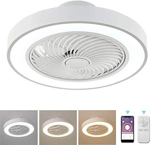 Lámpara de techo Los ventiladores de techo con lámparas, luz de techo moderna minimalista con ventilador con mando a distancia regular lámparas de techo en casa habitación den restaurante LED,Blanco