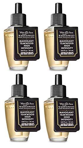 Bath and Body Works 4 Pack Mahogany Teakwood High Intensity Wallflowers Fragrance Refill 0.8 Oz.