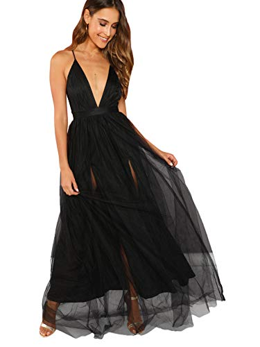 Floerns Women's Plunging Neck Spaghetti Strap Maxi Cocktail Party Dress Black L