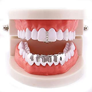 Bishelle Hip Hop Teeth Grills for Teeth, Teeth Grill Hiphop Set(1 Top & 6 Bottom) Crystal CZ Iced Out Gold/Sliver Tooth Grills Cap for Men/Women Gifts (Color : Silver)