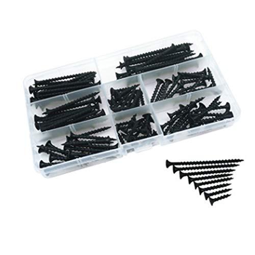 ZYDZSWDT 200 PCS DIY Boxed Tornillos de Tapping M4 endurecido endurecido contra la Cabeza de la Cabeza Drywall Nail Wallboard Tornillo de Madera Caja de plástico Juego