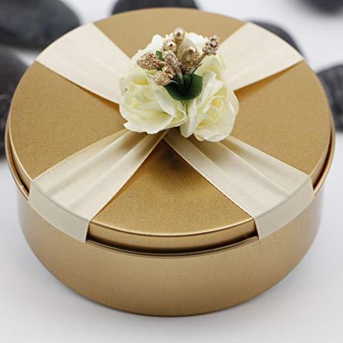 VOANZO 4PCS Wedding Candy Box, Party Gift Box Round Square Creative para accesorios de suministros de boda (10.5x4cm)