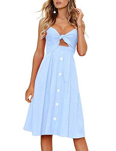 FANCYINN Kleid Damen Sommer Knielang Dekoltee V-Ausschnitt Sommerkleid Midi Träger Rückenfreies A-Linie Kleider Strandkleider Hellblau