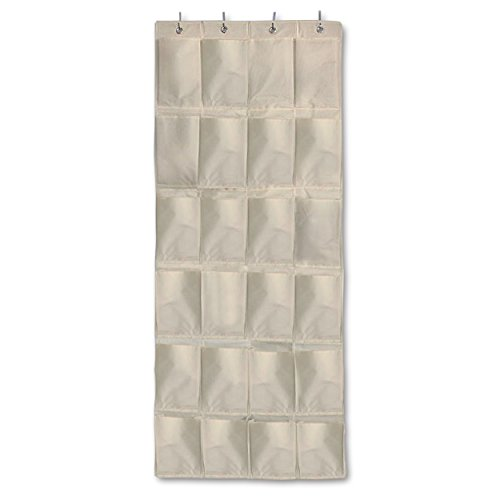 Aristocrat Homewares Over The Door Shoe Rack and Closet Organizer System with 24 Extra Large Heavy Duty Pockets from