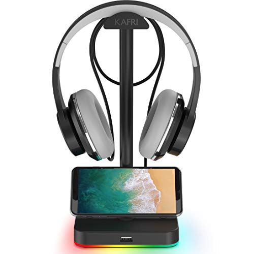 RGB Headphone Stand with USB Hub KAFRI Desk Gaming Headset Holder Hanger Rack with 1 USB2.0...
