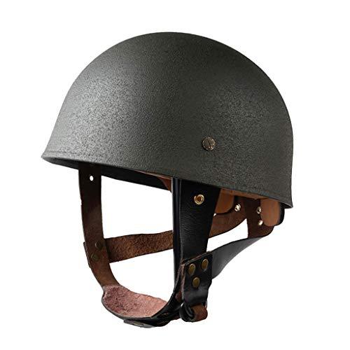 JXS Réplica de Casco de Paracaidista Británica WW2, Casco de Motocicleta Vintage, Cuero Metal, Cuero, Tamaño