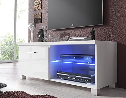 Skraut Home – Meuble Bas TV LED, Salon-Séjour, Blanc Mate et Blanc Laqué, Dimensions: 100 x 40 x 42 cm de Profondeur.
