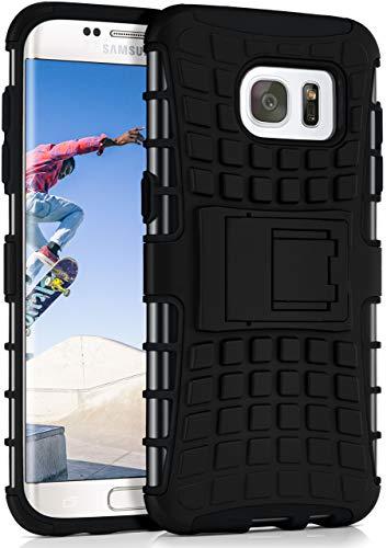 ONEFLOW Tank Case kompatibel mit Samsung Galaxy S7 Edge - Hülle Outdoor stoßfest, Handyhülle mit Ständer, Kamera- und Bildschirmschutz, Handy Hardcase Panzerhülle, Obsidian - Schwarz