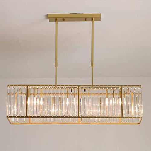 Lámpara colgante de cristal moderna, lámpara de araña de metal de hierro forjado, accesorio de iluminación de techo rectangular LED, sala de estar, restaurante, hotel, lámpara colgante E14, decoración