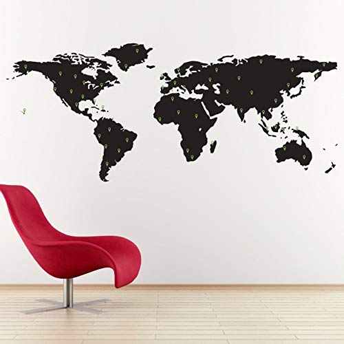 World Map Decal met 50 Marking Pins - Geography Wall Art - Office Decor - Large 12