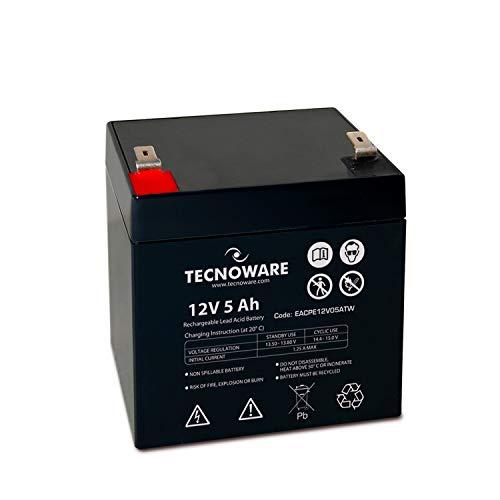 Tecnoware Batteria Ermetica al Piombo 12 V Capacità 5 Ah, per UPS, Sistemi di Videosorveglianza e Allarme, Attacco Faston 6.3 mm , Dimensioni 9 x 10 x 7 cm
