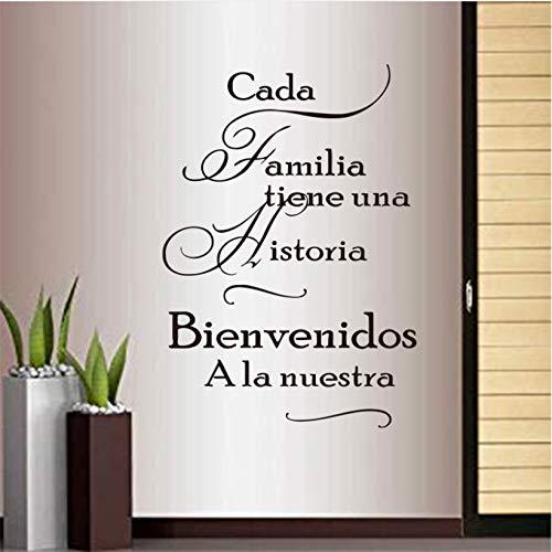 wmyzfs Frases Familiares en español Pegatinas para Cada Familia Tienen una Historia Vinilo Pegatinas de Pared Mural Poster decoración del hogar decoración de la casa 40x63 cm