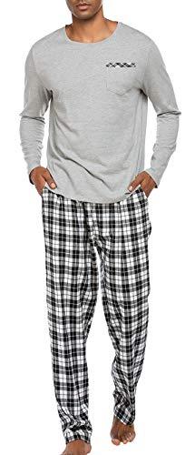 Schlafanzug Herren Lang Pyjama Nachtwäsche Schlafhose Oberteile Schlafshirt mit Taschen für Männer Herbst Winter Zuhause Grau