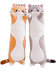 抱きまくら ねこ縫い包み 可愛い もこもこ 添い寝 抱き枕 猫おもちゃ 柔らかい 多機能 横向き寝 洗える 癒し系 デスク/昼寝まくら プレゼント かわいい ふわふわ 特大 グレー 50cm