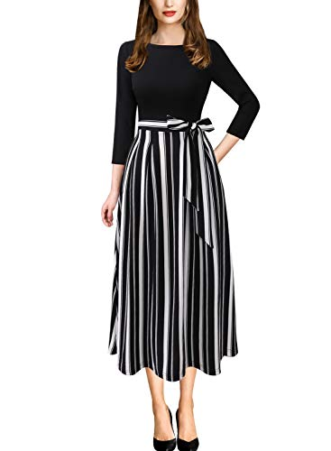 Vfshow Womens Black and White Striped Print Spring Fall Elegant Patchwork Pockets Work Business Office Casual Party A-Line Midi Dress 3733 STP BLK L